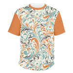 Orange & Blue Leafy Swirls Men's Crew T-Shirt (Personalized)