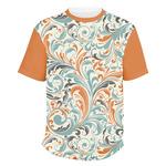 Orange & Blue Leafy Swirls Men's Crew T-Shirt (Personalized)