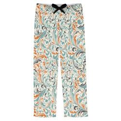 Orange & Blue Leafy Swirls Mens Pajama Pants (Personalized)