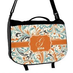 Orange & Blue Leafy Swirls Messenger Bag (Personalized)