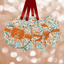Orange & Blue Leafy Swirls Metal Ornaments - Double Sided w/ Name and Initial