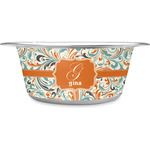 Orange & Blue Leafy Swirls Stainless Steel Pet Bowl (Personalized)