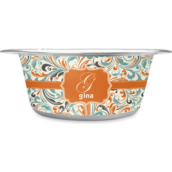 Orange & Blue Leafy Swirls Stainless Steel Pet Bowl (Personalized)