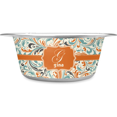 Orange & Blue Leafy Swirls Stainless Steel Dog Bowl (Personalized)