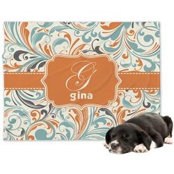 Orange & Blue Leafy Swirls Minky Dog Blanket - Large  (Personalized)