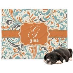 Orange & Blue Leafy Swirls Minky Dog Blanket (Personalized)