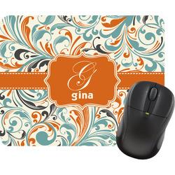 Orange & Blue Leafy Swirls Rectangular Mouse Pad (Personalized)