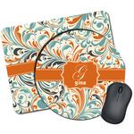 Orange & Blue Leafy Swirls Mouse Pads (Personalized)