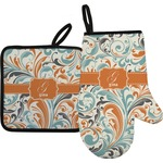 Orange & Blue Leafy Swirls Oven Mitt & Pot Holder (Personalized)