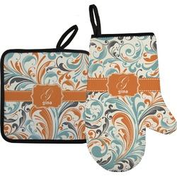 Orange & Blue Leafy Swirls Oven Mitt & Pot Holder (Personalized)