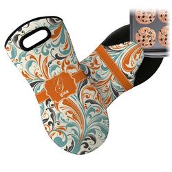 Orange & Blue Leafy Swirls Neoprene Oven Mitt (Personalized)