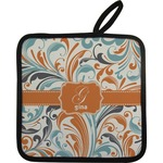 Orange & Blue Leafy Swirls Pot Holder w/ Name and Initial