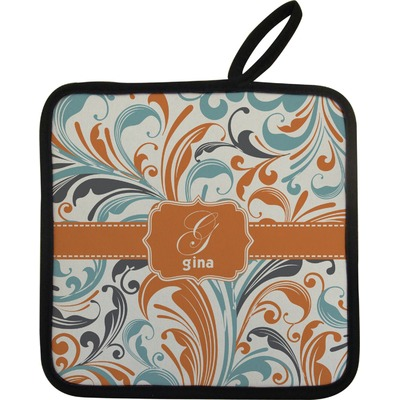 Orange & Blue Leafy Swirls Pot Holder (Personalized)