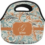 Orange & Blue Leafy Swirls Lunch Bag (Personalized)