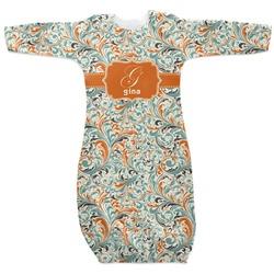 Orange & Blue Leafy Swirls Newborn Gown (Personalized)
