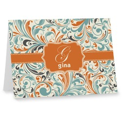 Orange & Blue Leafy Swirls Note cards (Personalized)