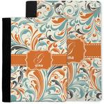 Orange & Blue Leafy Swirls Notebook Padfolio w/ Name and Initial