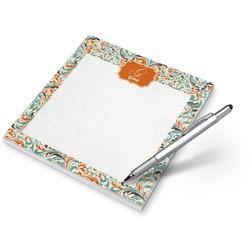 Orange & Blue Leafy Swirls Notepad (Personalized)