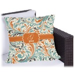 Orange & Blue Leafy Swirls Outdoor Pillow (Personalized)