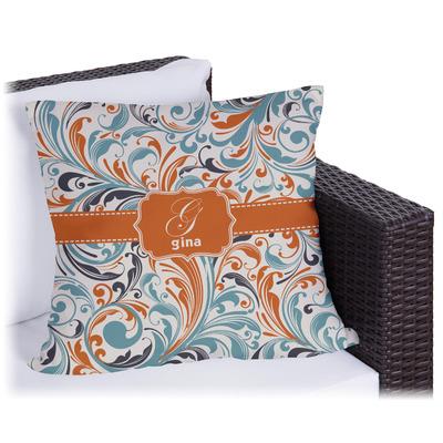 Orange & Blue Leafy Swirls Outdoor Pillow (Personalized)