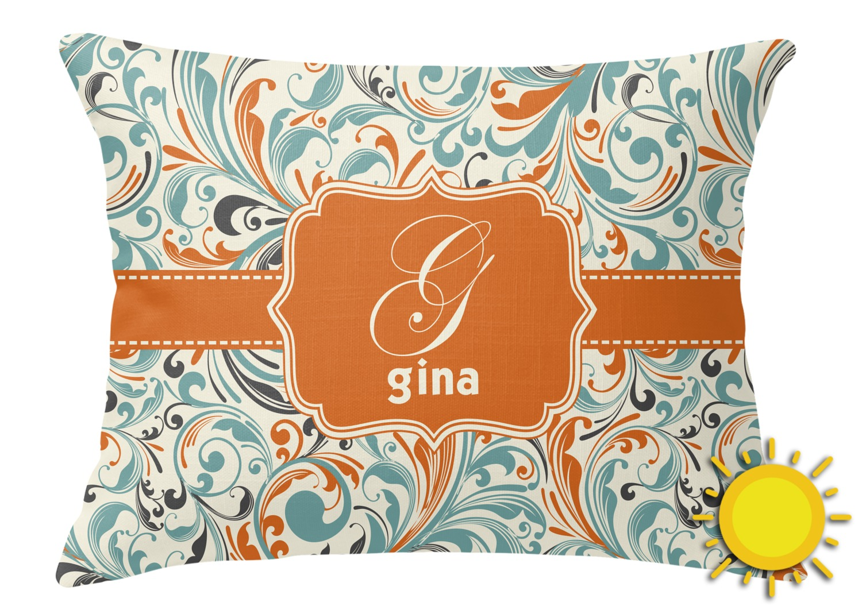 Orange & Blue Leafy Swirls Outdoor Throw Pillow (Rectangular) (Personalized) - YouCustomizeIt