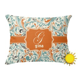 Orange & Blue Leafy Swirls Outdoor Throw Pillow (Rectangular) (Personalized)