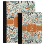 Orange & Blue Leafy Swirls Padfolio Clipboard (Personalized)