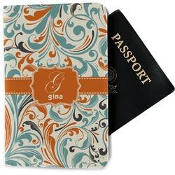 Orange & Blue Leafy Swirls Passport Holder - Fabric (Personalized)