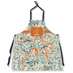 Orange & Blue Leafy Swirls Apron Without Pockets w/ Name and Initial