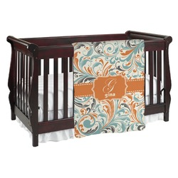 Orange & Blue Leafy Swirls Baby Blanket (Personalized)