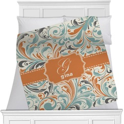 "Orange & Blue Leafy Swirls Fleece Blanket - Twin / Full - 80""x60"" - Double Sided (Personalized)"