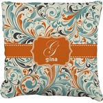 Orange & Blue Leafy Swirls Faux-Linen Throw Pillow (Personalized)