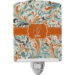 Orange & Blue Leafy Swirls Ceramic Night Light (Personalized)