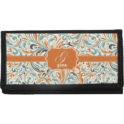 Orange & Blue Leafy Swirls Canvas Checkbook Cover (Personalized)