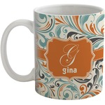 Orange & Blue Leafy Swirls Coffee Mug (Personalized)