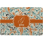 Orange & Blue Leafy Swirls Comfort Mat (Personalized)
