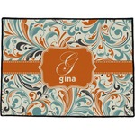 Orange & Blue Leafy Swirls Door Mat (Personalized)