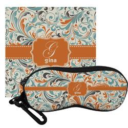 Orange & Blue Leafy Swirls Eyeglass Case & Cloth (Personalized)
