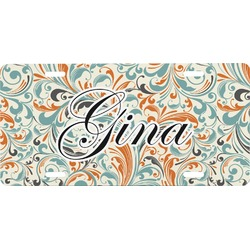 Orange & Blue Leafy Swirls Front License Plate (Personalized)