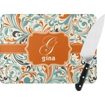 Orange & Blue Leafy Swirls Rectangular Glass Cutting Board (Personalized)