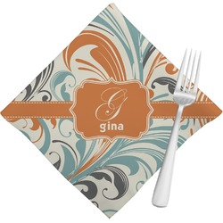 Orange & Blue Leafy Swirls Napkins (Set of 4) (Personalized)