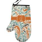 Orange & Blue Leafy Swirls Left Oven Mitt (Personalized)
