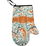 Orange & Blue Leafy Swirls Right Oven Mitt (Personalized)