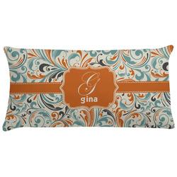 Orange & Blue Leafy Swirls Pillow Case (Personalized)