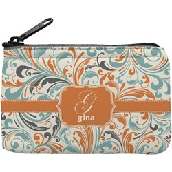 Orange & Blue Leafy Swirls Rectangular Coin Purse (Personalized)
