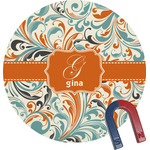 Orange & Blue Leafy Swirls Round Magnet (Personalized)