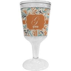 Orange & Blue Leafy Swirls Wine Tumbler - 11 oz Plastic (Personalized)
