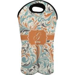 Orange & Blue Leafy Swirls Wine Tote Bag (2 Bottles) (Personalized)