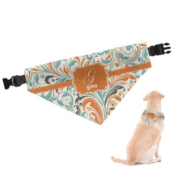 Orange & Blue Leafy Swirls Dog Bandana (Personalized)