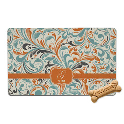 Orange & Blue Leafy Swirls Pet Bowl Mat (Personalized)